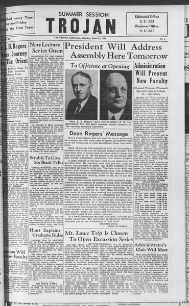 Summer Session Trojan, Vol. 15, No. 1, June 22, 1936