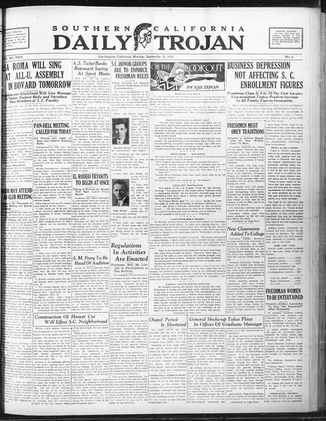 Daily Trojan, Vol. 22, No. 2, September 15, 1930