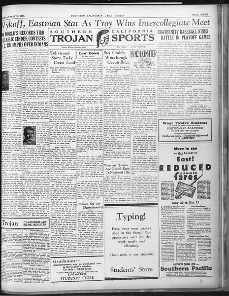 Daily Trojan, Vol. 22, No. 145, May 18, 1931