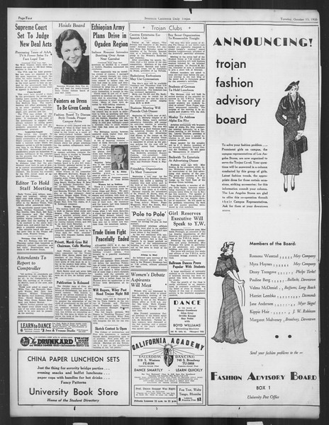 Daily Trojan, Vol. 27, No. 18, October 15, 1935