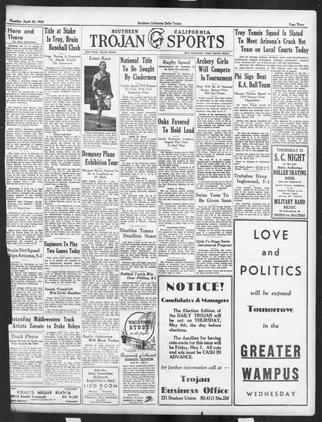 Daily Trojan, Vol. 26, No. 122, April 23, 1935