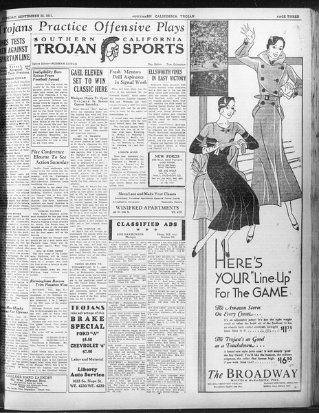 Daily Trojan, Vol. 23, No. 8, September 22, 1931