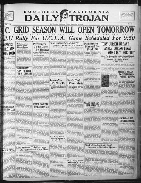 Daily Trojan, Vol. 22, No. 11, September 26, 1930