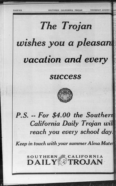 Southern California Trojan, Vol. 9, No. 12, August 07, 1930