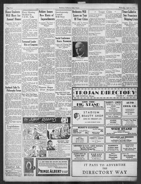 Daily Trojan, Vol. 27, No. 120, April 22, 1936