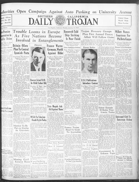 Daily Trojan, Vol. 28, No. 63, January 11, 1937