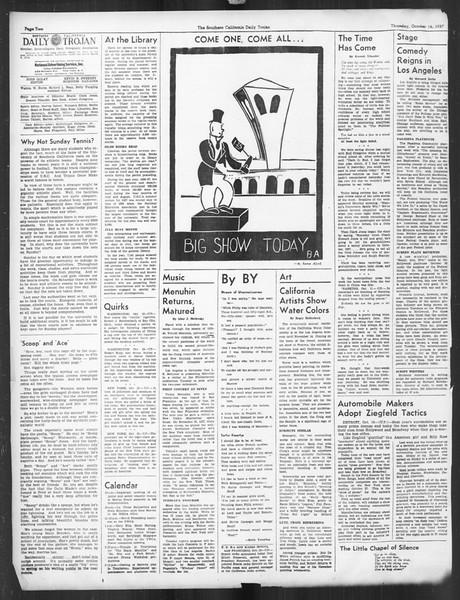 Daily Trojan, Vol. 29, No. 20, October 14, 1937