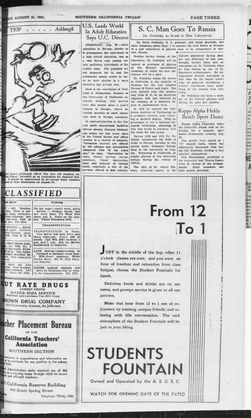 Southern California Trojan, Vol. 10, No. 18, August 21, 1931