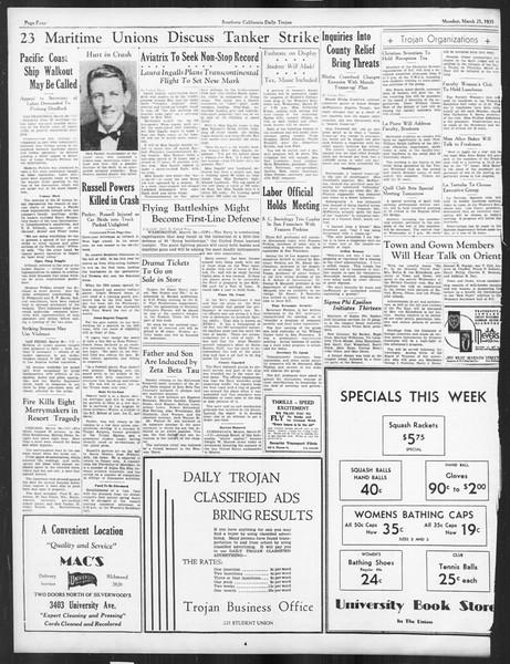 Daily Trojan, Vol. 26, No. 102, March 25, 1935