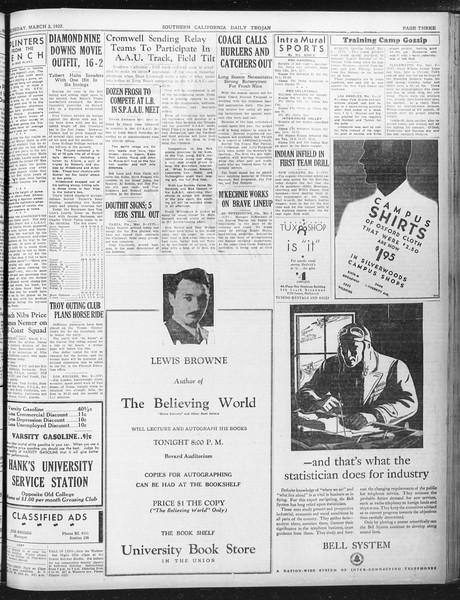 Daily Trojan, Vol. 23, No. 100, March 03, 1932