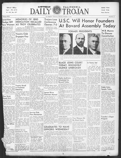 Daily Trojan, Vol. 29, No. 12, October 04, 1937