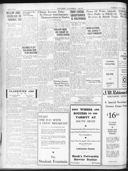 Daily Trojan, Vol. 23, No. 46, November 17, 1931