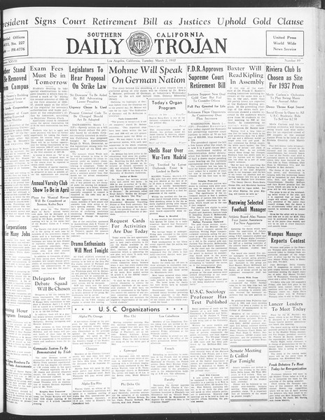 Daily Trojan, Vol. 28, No. 89, March 02, 1937