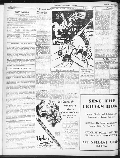 Daily Trojan, Vol. 23, No. 7, September 21, 1931