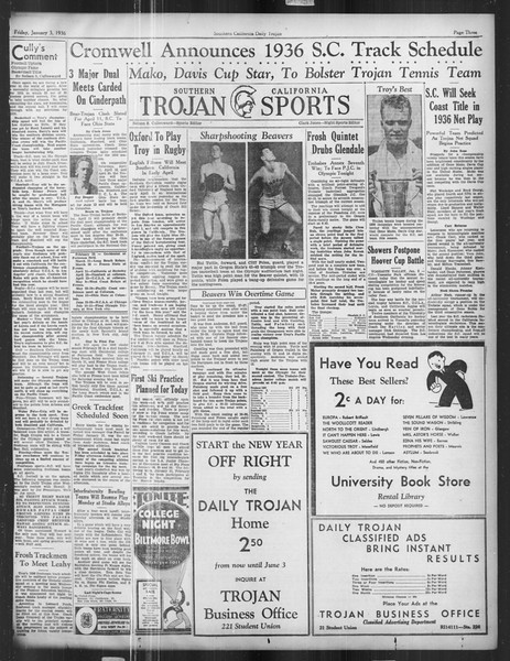 Daily Trojan, Vol. 27, No. 57, January 03, 1936