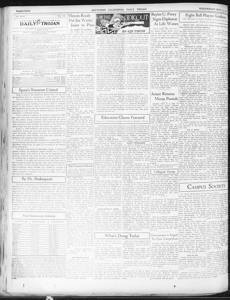 Daily Trojan, Vol. 22, No. 142, May 13, 1931