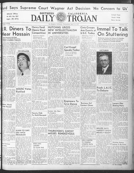 Daily Trojan, Vol. 28, No. 115, April 14, 1937