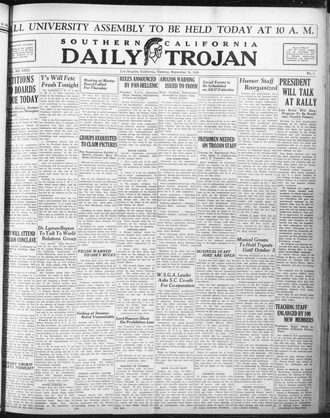 Daily Trojan, Vol. 22, No. 3, September 16, 1930