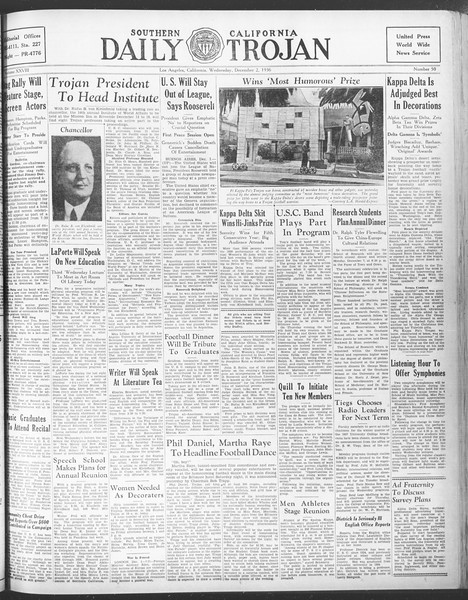 Daily Trojan, Vol. 28, No. 50, December 02, 1936
