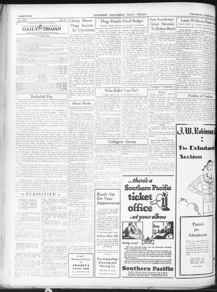 Daily Trojan, Vol. 22, No. 91, February 19, 1931