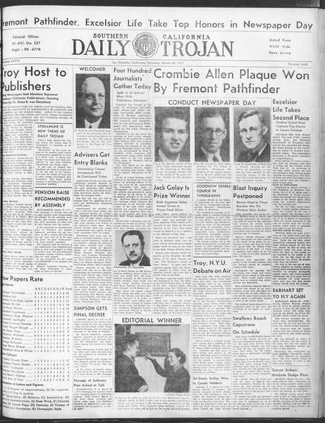 Daily Trojan, Vol. 28, No. 102A, March 20, 1937