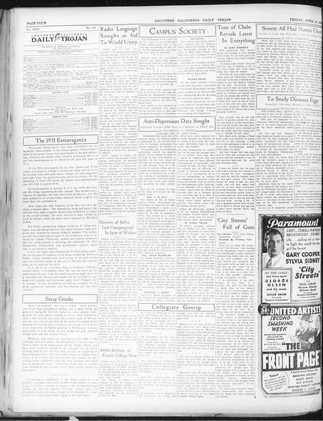 Daily Trojan, Vol. 22, No. 129, April 24, 1931