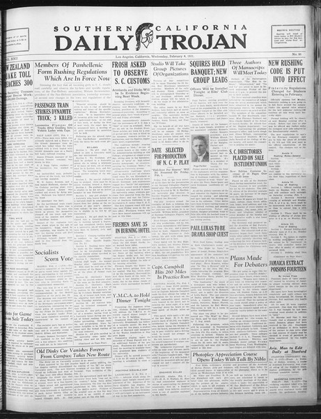 Daily Trojan, Vol. 22, No. 80, February 04, 1931