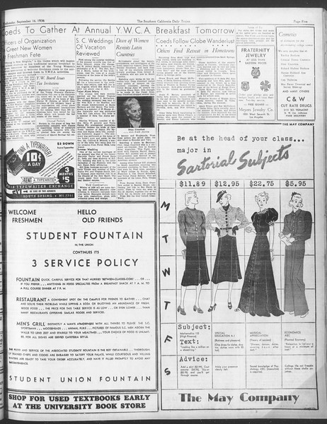 Daily Trojan, Vol. 28, No. 1, September 16, 1936