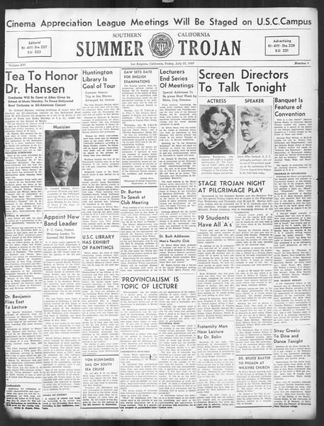 Summer Trojan, Vol. 16, No. 9, July 23, 1937