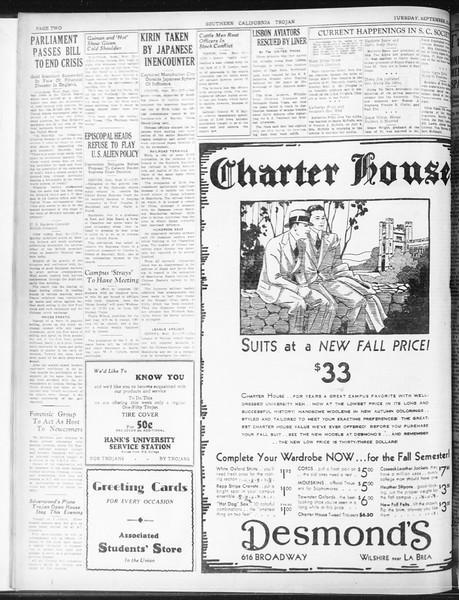 Daily Trojan, Vol. 23, No. 8, September 22, 1931