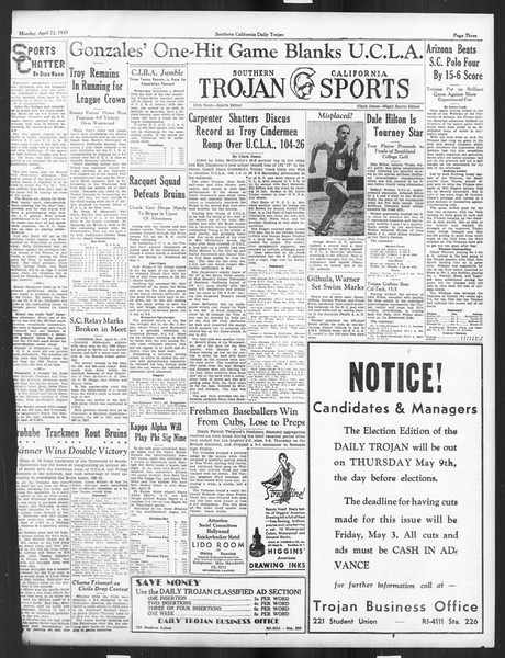 Daily Trojan, Vol. 26, No. 121, April 22, 1935