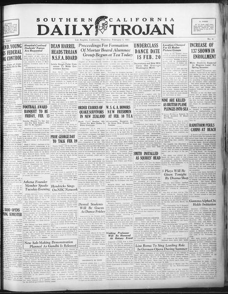 Daily Trojan, Vol. 22, No. 81, February 05, 1931