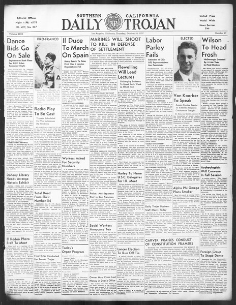 Daily Trojan, Vol. 29, No. 29, October 28, 1937