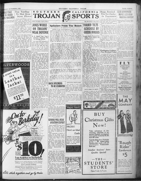 Daily Trojan, Vol. 23, No. 20, October 08, 1931