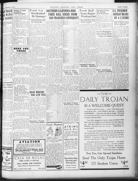 Daily Trojan, Vol. 22, No. 97, March 02, 1931