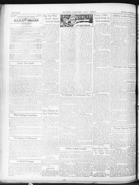Daily Trojan, Vol. 22, No. 88, February 16, 1931