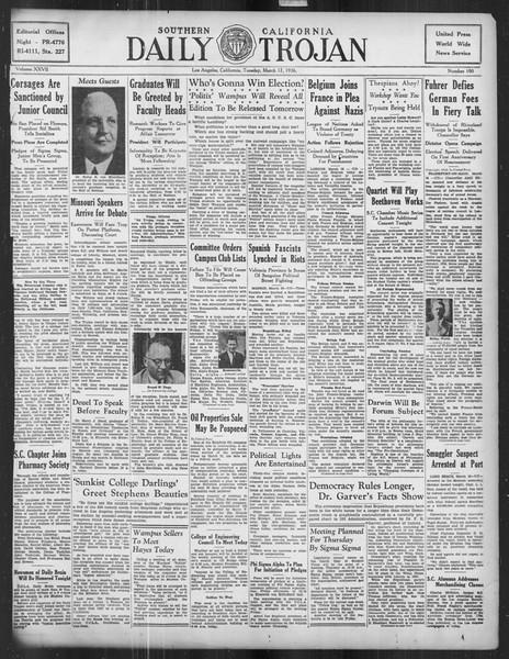 Daily Trojan, Vol. 27, No. 100, March 17, 1936