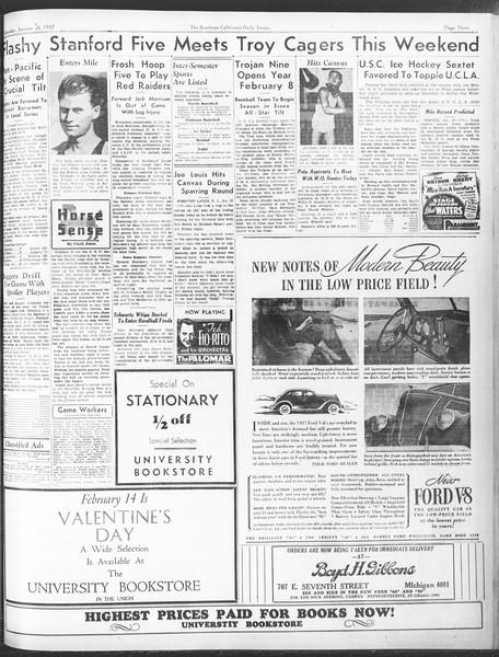Daily Trojan, Vol. 28, No. 76, January 28, 1937