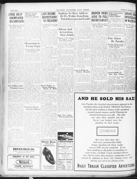 Daily Trojan, Vol. 22, No. 108, March 17, 1931