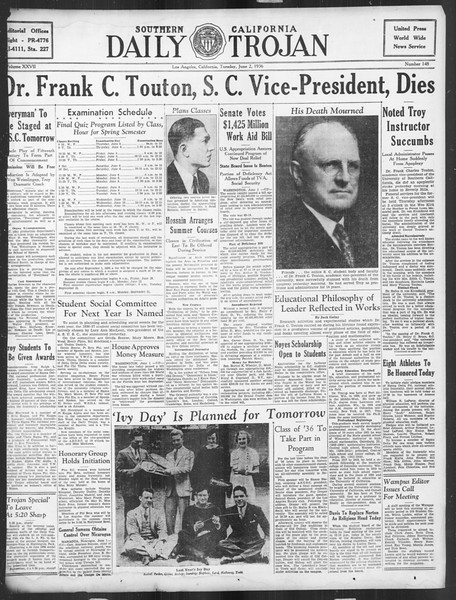Daily Trojan, Vol. 27, No. 148, June 02, 1936