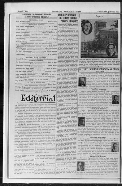 Southern California Trojan: School of Citizenship and Public Administration, Vol. 4, No. 2, June 11, 1931