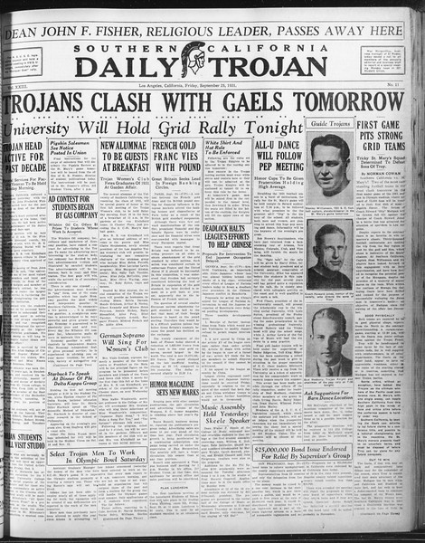 Daily Trojan, Vol. 23, No. 11, September 25, 1931