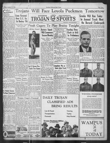 Daily Trojan, Vol. 27, No. 67, January 17, 1936