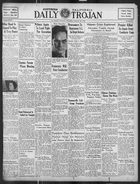 Daily Trojan, Vol. 27, No. 86, February 26, 1936