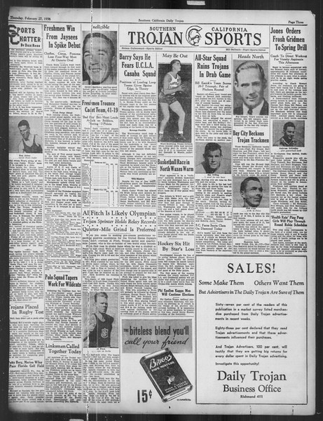 Daily Trojan, Vol. 27, No. 87, February 27, 1936