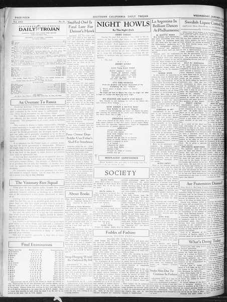 Daily Trojan, Vol. 22, No. 78, January 21, 1931