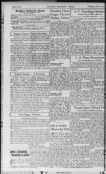 Southern California Trojan, Vol. 10, No. 1, June 22, 1931