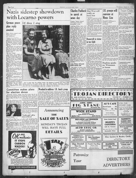 Daily Trojan, Vol. 27, No. 106, March 25, 1936