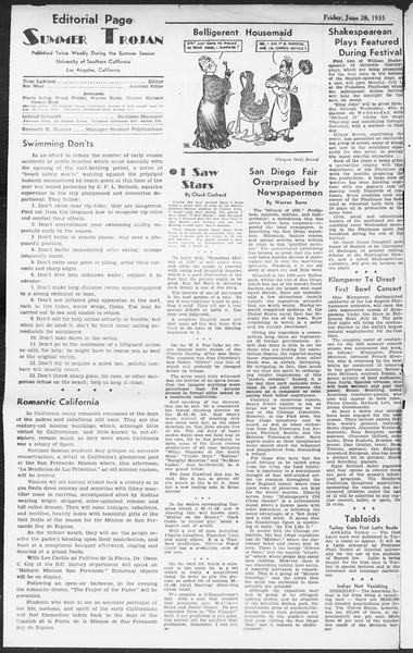 Summer Session Trojan, Vol. 14, No. 4, June 28, 1935