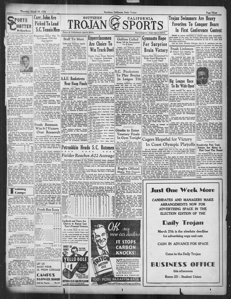 Daily Trojan, Vol. 27, No. 102, March 19, 1936